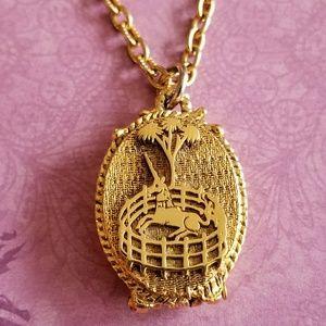 Vintage unicorn locket necklace gold tone